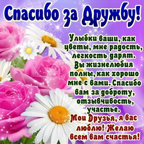 Стихи пожелания другу спасибо за дружбу